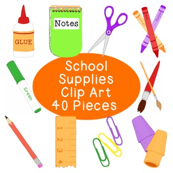 Back to School Supplies Clip Art Bundle PNG JPG Blackline