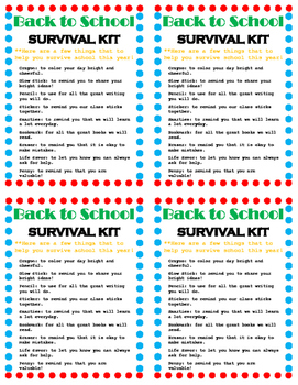 Back to School Survial Kit