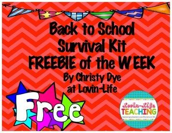 Back to School Survival Kit- FREEBIE of the WEEK