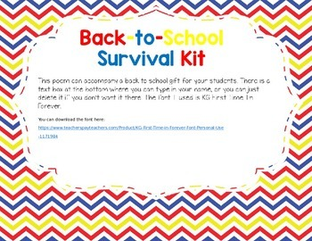 Back-to-School Survival Kit Poem