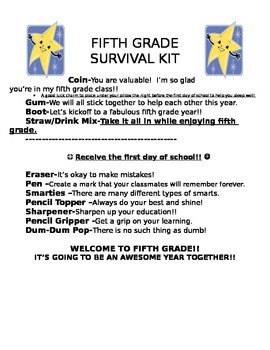 Back to School Survival Letter