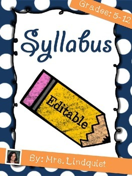 Back-to-School Syllabus for Middle or High School Teachers