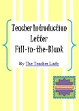 Back to School Teacher Introduction Letter