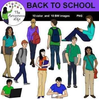 Back to School Teens Clip Art