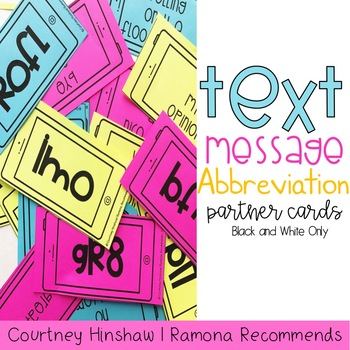 Back to School Texting Abbrevation Partner Cards