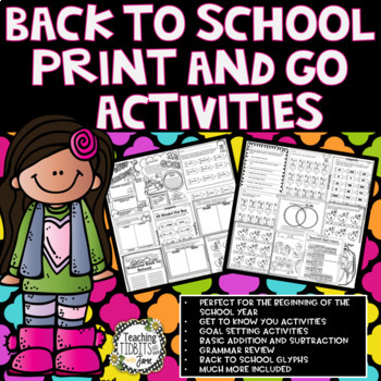 Back to School Themed Printables: Math, Literacy, Writing