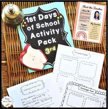 Back to School Third Grade First Day of School Activities!