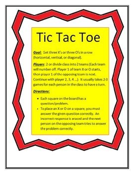 Back to School Tic Tac Toe with Ten Frames