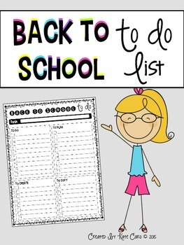 Back to School To Do List Template