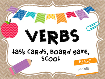 Back to School VERBS Task Cards, SCOOT, and Board Game