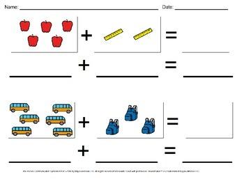 Back to School Visual Addition Math Worksheet Set