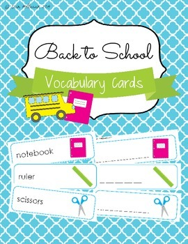 Back to School Vocabulary Cards and Spelling Practice