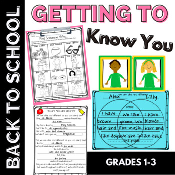 Getting to Know You Back to School Activity for 1st &2nd G