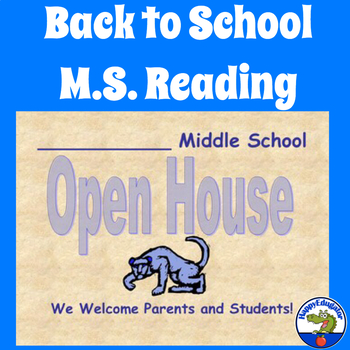 Back to School Open House - Welcome to Reading Class