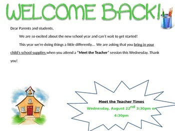Back to School Welcome Note - Editable