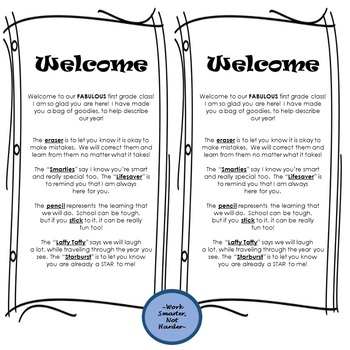 Back to School Welcome Treat Bag Letter