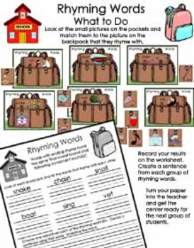Literacy Center - Back to School With Rhyming Words - Word Family