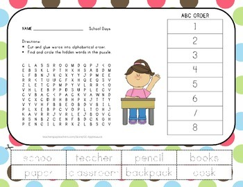 Back to School - Word Search with ABC Order