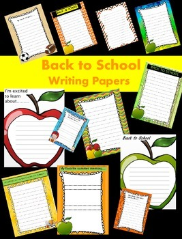 Back to School Writing Papers - Personal & Commercial use