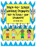 Back to School Writing Prompts and Observation Form...get