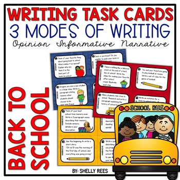 Back to School Writing Task Cards - Opinion, Narrative, In