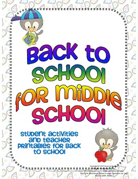 Back to School for Middle School - Student Activities & Te