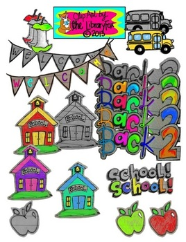 Back to School set 1 on Notebook Paper for Personal or Com
