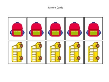 Back to School themed Pattern Cards preschool learning activity.