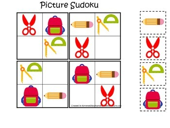 Back to School themed Picture Sudoku preschool learning game.