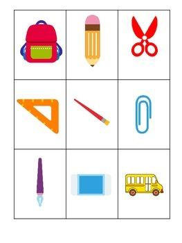 Back to School themed Three Part Matching preschool learni