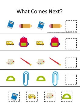 Back to School themed What Comes Next preschool pattern le