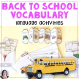 Back to School vocabulary books language  for speech, spec