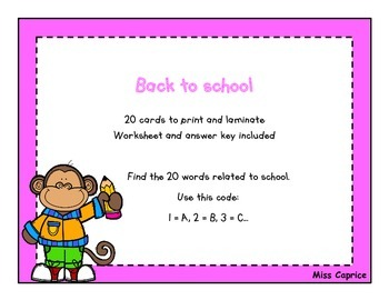 Back to school - ABC code - Task card - Miss Caprice