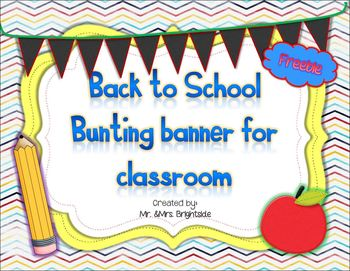Back to school Bunting Banner Freebie
