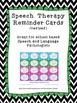 Speech Therapy reminder cards - keep your schedule running