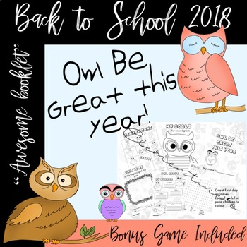Owl Be Great this year - Memory Game Included - Back to sc