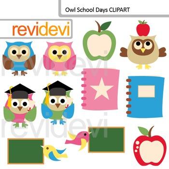 Back to school clip art / Owl School days clipart