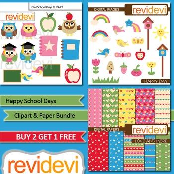 Back to school clip art / clipart and digital paper bundle