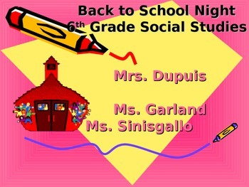 Back to school night powerpoint - social studies - middle school