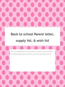 Back to school parent letter, supply list, and wish list -