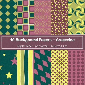 Background Paper - 10 Grapevine Designs Digital Papers