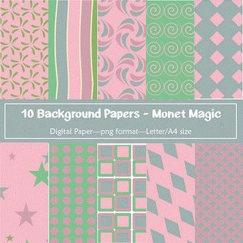 Background Paper - 10 Monet Magic Designs Digital Papers