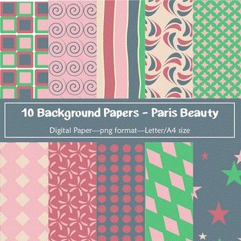 Background Paper - 10 Paris Beauty Designs Digital Papers