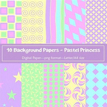 Background Paper - 10 Pastel Princess Designs Digital Papers