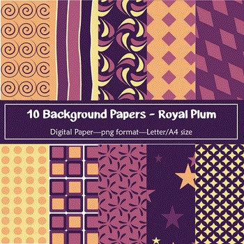 Background Paper - 10 Royal Plum Designs Digital Papers