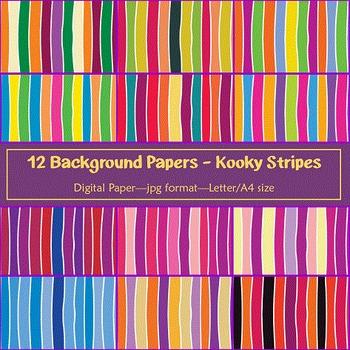 Background Paper - 12 Bright Kooky Stripes Designs