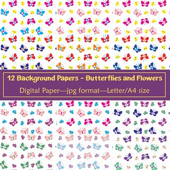 Background Paper - 12 Butterfly and Flower Designs