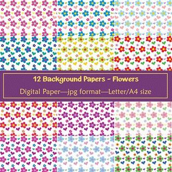 Background Paper - 12 Flower Designs
