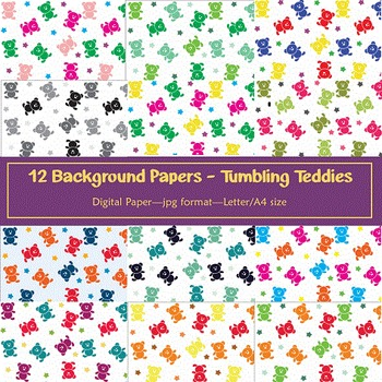 Background Paper - 12 Tumbling Teddies Digital Papers