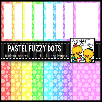 Background Paper and Borders – Pastel Fuzzy Dots Bundle